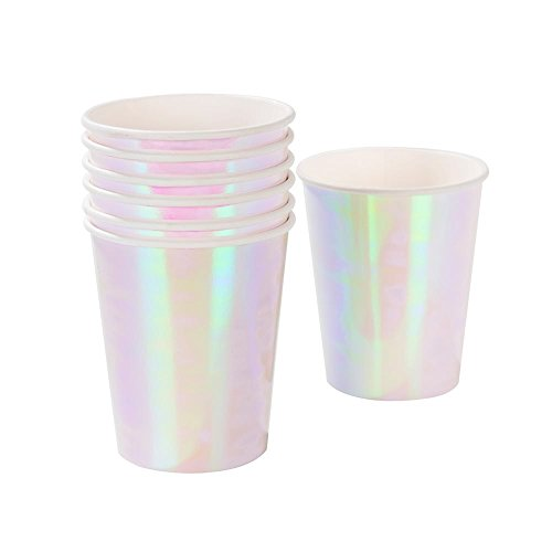 Birthday Party Paper Cups - Talking Tables We Heart Pastel Iridescent Shiny Paper Cups for a Birthday Party, Unicorn Party, or Childrens Party, Pink (24 Pack)