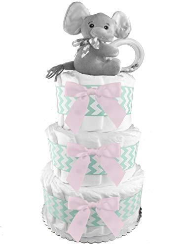 Elephant 3-Tier Diaper Cake - Girl Baby Shower Gift - Mint and Pink ()