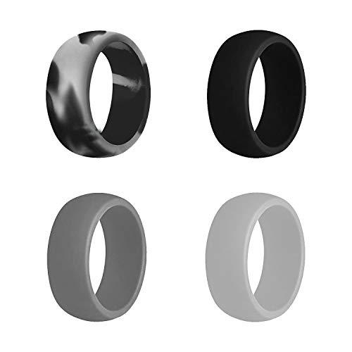 KONQUER Alianzas de boda de silicona, cómoda y flexible alianza de goma para hombres con diseño clásico de ajuste cómodo, anillo único y paquete de 4, 8.7 mm de ancho, 2.5 mm de grosor