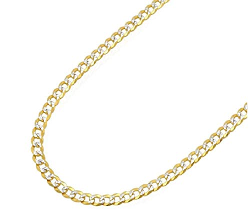 Pori Jewelers 18K Solid Yellow Gold with White Pave Diamond Cut 3MM Cuban Chain Necklace (20)
