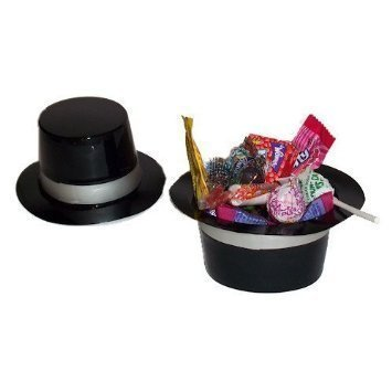 Wholesale Costume Top Hats (Dozen Mini Black Plastic Top Hat Birthday Party Favor Novelty)