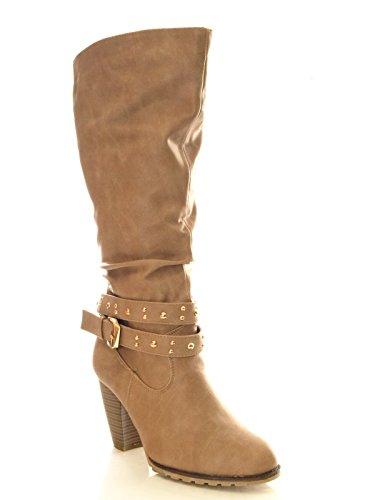 Damen Cowboy Winter Stiefel innen warm gefüttert Khaki # 032