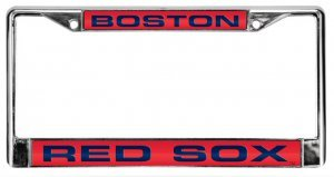 Boston Red Sox Laser Cut Chrome License Plate Frame - Red Background with Blue (Boston Red Sox License Plate Frame)