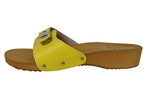 Buxa Ladies Natural Leather/Wooden Clog Sandals with Adjuster Yellow ay52TawrK