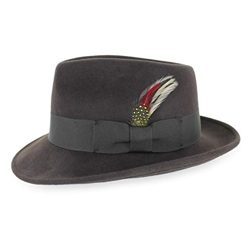Belfry Gangster 100% Wool Stain-Resistant Crushable Dress Fedora in 3 Colors (Large, Chocolate)