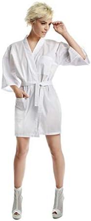 Kimono mujer Kimono corto de algodón bata blanco profesional: Amazon.es: Belleza