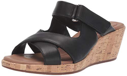 CLARKS Women's Un Plaza Slide Wedge Sandal, Black Leather, 80 M US ()