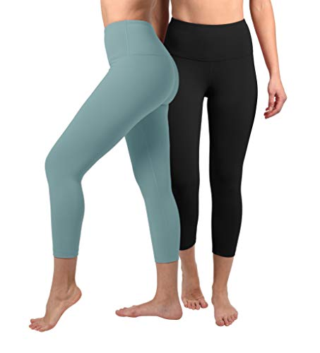 (90 Degree By Reflex - High Waist Tummy Control Shapewear - Power Flex Capri - Black and Azure Splash 2 Pack - XS)
