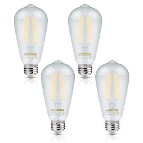 (Vintage LED Edison Bulb 6W Light Bulb, 60W Equivalent 4000k Daylight White, Non-Dimmable Led Filament Light Bulb, ST58 Antique E26 Medium Base, Decorative Bulbs for Kitchen Dining Room Home, Pack of 4 )