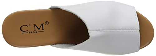 Sabots blancs cloutés à talons de 9,5cm et plateforme large bande