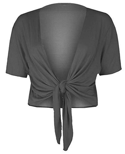 Rimi Hanger Womens Plain Short Sleeves Tie up Cardigan Ladies Stretchy Open Front Shrug Top Dark Grey Medium/Large UK 8-10