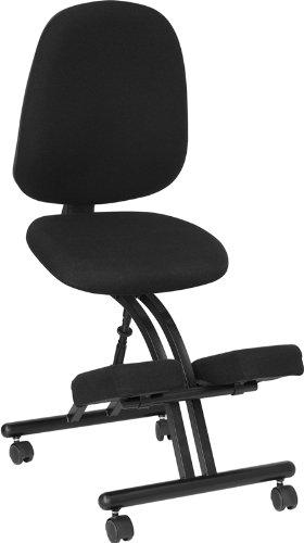 Flash Furniture WL-1428-GG Mobile Ergonomic Kneeling Posture Chair in Black Fabric with (Black Fabric Kneeling Chair)