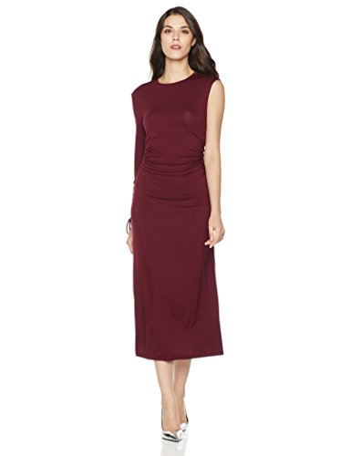 Mariella Bella Women's One Sleeve Ruched Stretch Dress X-Large Burgundy Stretch Bodice