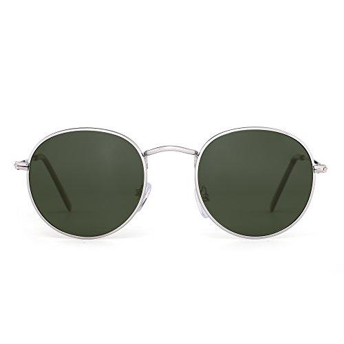 Polarized Small Round Sunglasses Retro Mirror Circle Lens Metal Frame Men Women (Silver / Polarized - Cheap Lens Circle