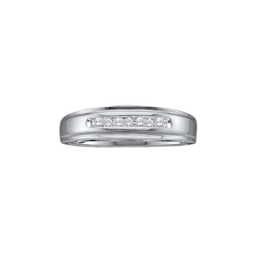 Sonia Jewels Size 10-10k White Gold Diamond Wedding Mens Ring Band (0.08 (Gents Diamond Wedding Ring)