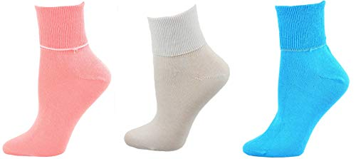 (Sierra Socks Women's Diabetic 100% Cotton Ankle Turn Cuff 3 Pair Pack (12 (Fits Shoe Size 11-12), A5 (Guava/White/Turquoise)))