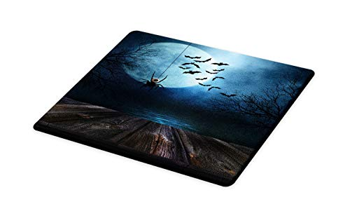 Ambesonne Halloween Cutting Board, Misty Lake Scene Rusty Wooden Deck Spider Eyeball and Bats with Ominous Skyline, Decorative Tempered Glass Cutting and Serving Board, Large Size, Blue -