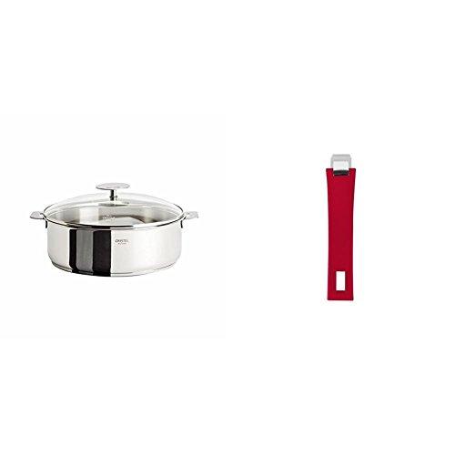 Cristel Casteline S26QMPKP Saute Pan, 5 quart, Silver with Cristel Mutine Pmaf Handle, Long, Raspberry