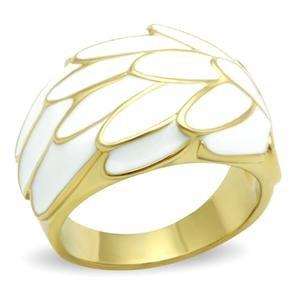 Plated White Enamel - Women' s White Enamel Leaf Gold Ion Plated Brass Ring