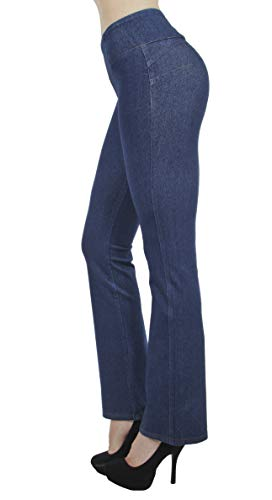 Shaping Pull On Butt Lift Push Up Yoga Pants Stretch Indigo Denim Flare Jeans in Indigo Stone Size XXXL