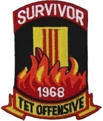 "SURVIVOR 1968 TET OFFENSIVE US Military Vietnam Veteran Biker Patch 3/"" x 2/"""