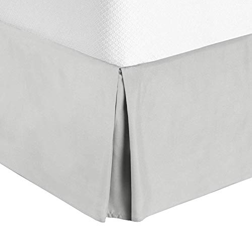 Idea Linen Ultra Soft Bed Skirt - Premium Cal-King Size 21 Inch Drop Light Grey with 300 Thread Count Hotel Quality, Quadruple Pleated Hypoallergenic, Wrinkle and Fade Resistant