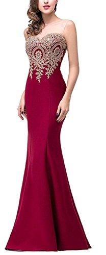 SHUNLIU Vestidos de Fiesta Largos Vestido Encaje de Mujer Elegantes de Noche Detrás de Perspectiva Hueco Rojo