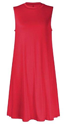 Sans Manches Partie Ras Du Cou De Couleur Unie De Rouge Robe Plissée Femmes Coolred
