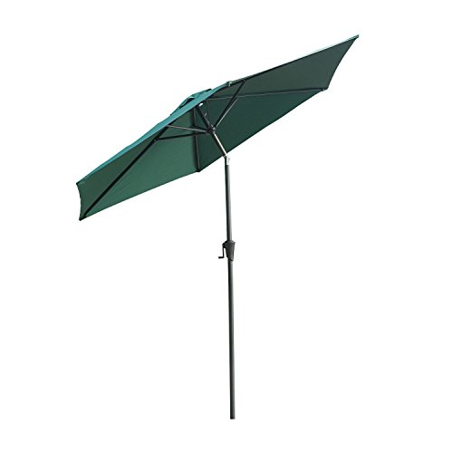 Outsunny Outdoor Aluminum Patio Market Umbrella with Tilt, 9-Feet, Deep Green For Sale