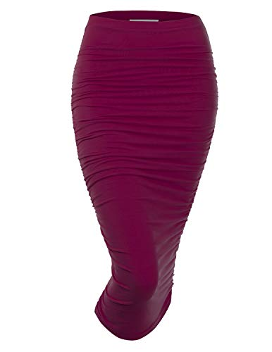 (Doublju Womens Slim Fit Ruched Long Pencil Skirt with Plus Size DARKVIOLET Small)