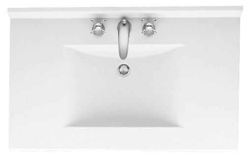 Swanstone CV02249.010 Contour Solid Surface Single-Bowl Vanity Top, 49-in L X 22-in H X 6.25-in H, White