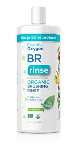 Essential Oxygen BR Certified Organic Brushing Rinse, All Natural Mouthwash for Whiter Teeth, Fresher Breath, and Happier Gums, Alcohol-Free Oral Care, Peppermint, Refill, 32 Ounce