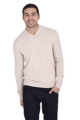 State Fusio Men's Wool Cashmere Blend Relaxed Fit Shawl Neck Sweater Beige (Beige Cashmere Blend)