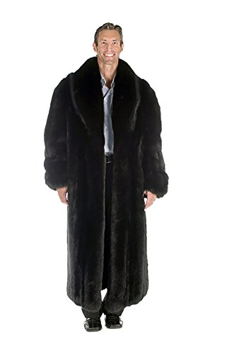 Madison Avenue Mall Real Genuine Long Fox Fur Coat For Men Full Length Black - Madison Mall