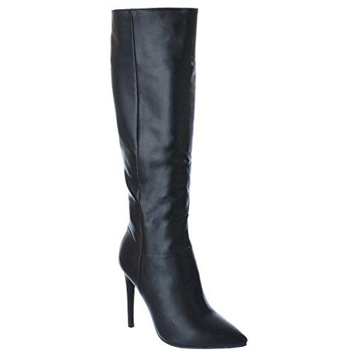 NUEVO de Mujer Altura a Rodilla Tacón De Aguja Punta Afilada EN PUNTA PUNTA Cremallera Fiesta Noche Botas Zapatos Varios Números Piel Sintética Negro