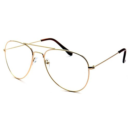 KIDS Children Aviator Gold Metal Oversized Clear Lens Eye Glasses (Age 3-10) ()