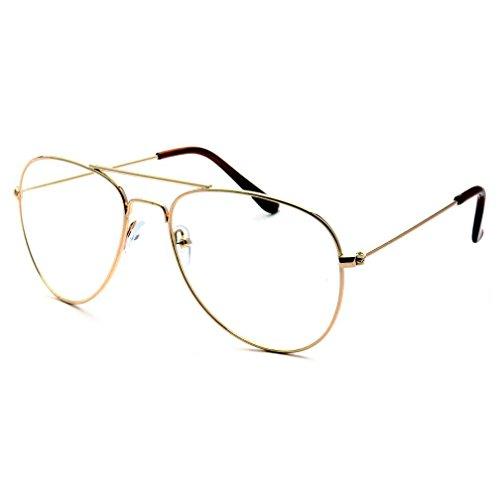 KIDS Children Aviator Gold Metal Oversized Clear Lens Eye Glasses (Age - Old Sunglasses Fashion