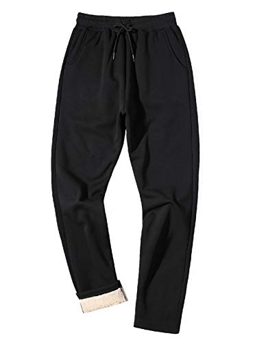 - Gihuo Men's Winter Fleece Pants Sherpa Lined Sweatpants Active Running Jogger Pants (2# Black, X-Large)