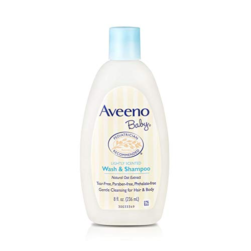 Aveeno Baby Gentle Wash & Shampoo With Natural Oat Extract, Tear-Free & Paraben-Free Formula For Hair & Body, Lightly Scented, 8 Fl. Oz