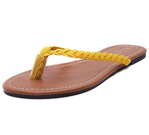 (Charles Albert Women's Easy Braided Thong Flip Flop Sandal (10, Yellow))
