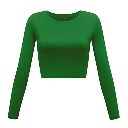 Women's Basic Round Neck Long Sleeve Crop Top (Army Green, Large) (Long Sleeve Sweater Crop Top)