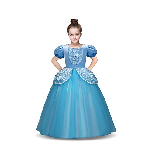 TiiMi Party Princess Cinderella Costumes Princess Dress up Kids Party Cosplay Costume Queen Dresses for Little Girls 2-12T (Age 7-8 Years 140cm) Blue]()
