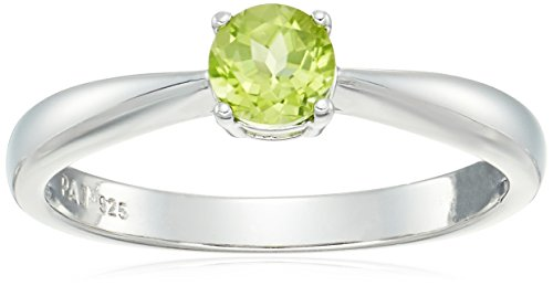 Sterling Silver Genuine Peridot 5mm Birthstone Solitaire Ring, Size 7