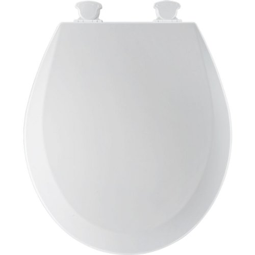 Bemis 500EC000 Molded Wood Round Toilet Seat With Easy Clean and Change Hinge, White