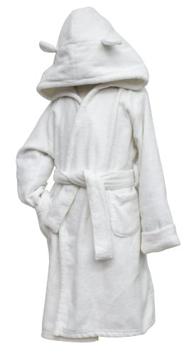 White Velour Robe with hood, Frenchie Mini Couture (5T)