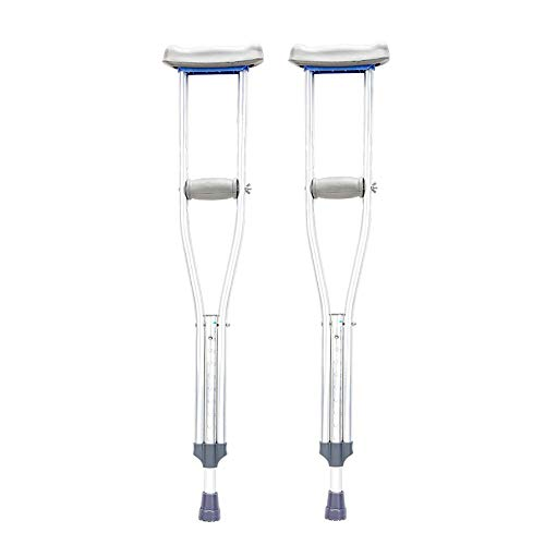 (Tall Adult Underarm Crutch,Push Button Adjustable Crutches, Aluminum Crutches with Pads and Handgrips Accessories,Gray(1 Pair))