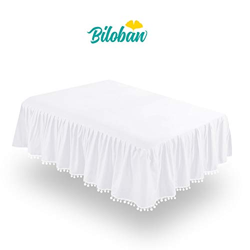 (White Crib Skirt Pleated with Lovely Pompoms, Bedding Dust Ruffle for Baby Girls and Baby Boys, 14
