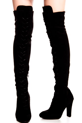 FOREVER LINK MICROFIBER LACE UP SIDE ZIPPER OVER THE KNEE HIGH HEEL BOOTS 65 ()
