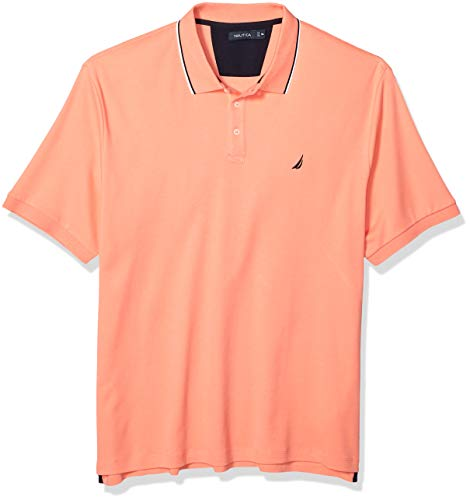 Nautica Men's Classic Fit Short Sleeve Dual Tipped Collar Polo Shirt, Pale Coral, X-Large