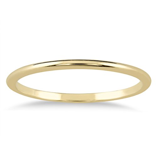 Yellow Gold Domed Wedding Band - 1mm Thin Domed Wedding Band in 14K Yellow Gold